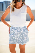 Blue Animal Print Belted Shorts