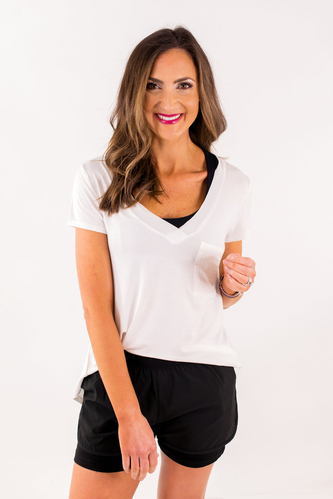 White Deep V Neck Tee w/ Pocket