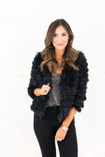 Black Layered Faux Fur Jacket