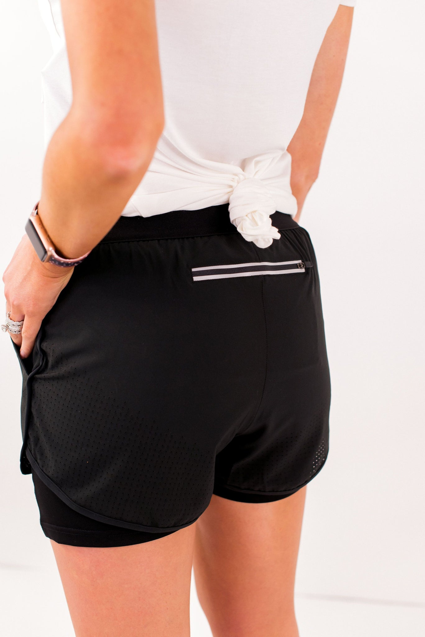 Black Double Layer Running Shorts