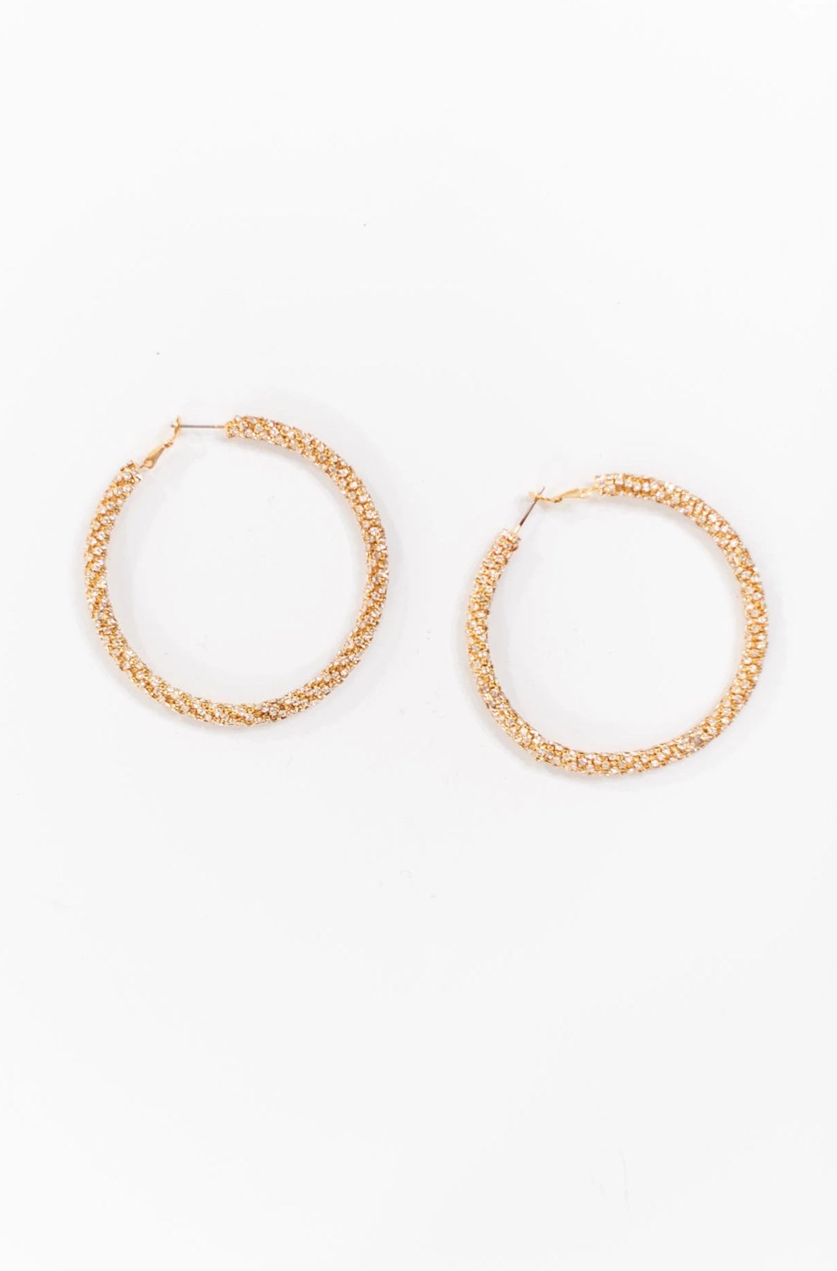 Gold Rhinestone Hoops
