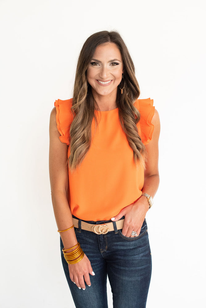 Orange Pleated Ruffle Sleeve Solid Top