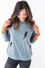 Faded Blue Terry Knit Lightning Bolt Top