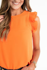 orange pleated ruffle sleeve top, Florida, UFL, University of Florida, UT, Texas, University of Texas, OSU, Oklahoma State, Tennessee, Princeton, Miami, Clemson, Syracuse, orange top, orange game day top, game day top, tailgate outfit, game day outfit, UT game day, Florida game day, style your senses