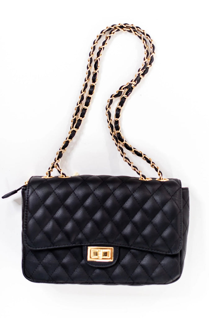 Quilted Black Handbag w/ Chain Strap