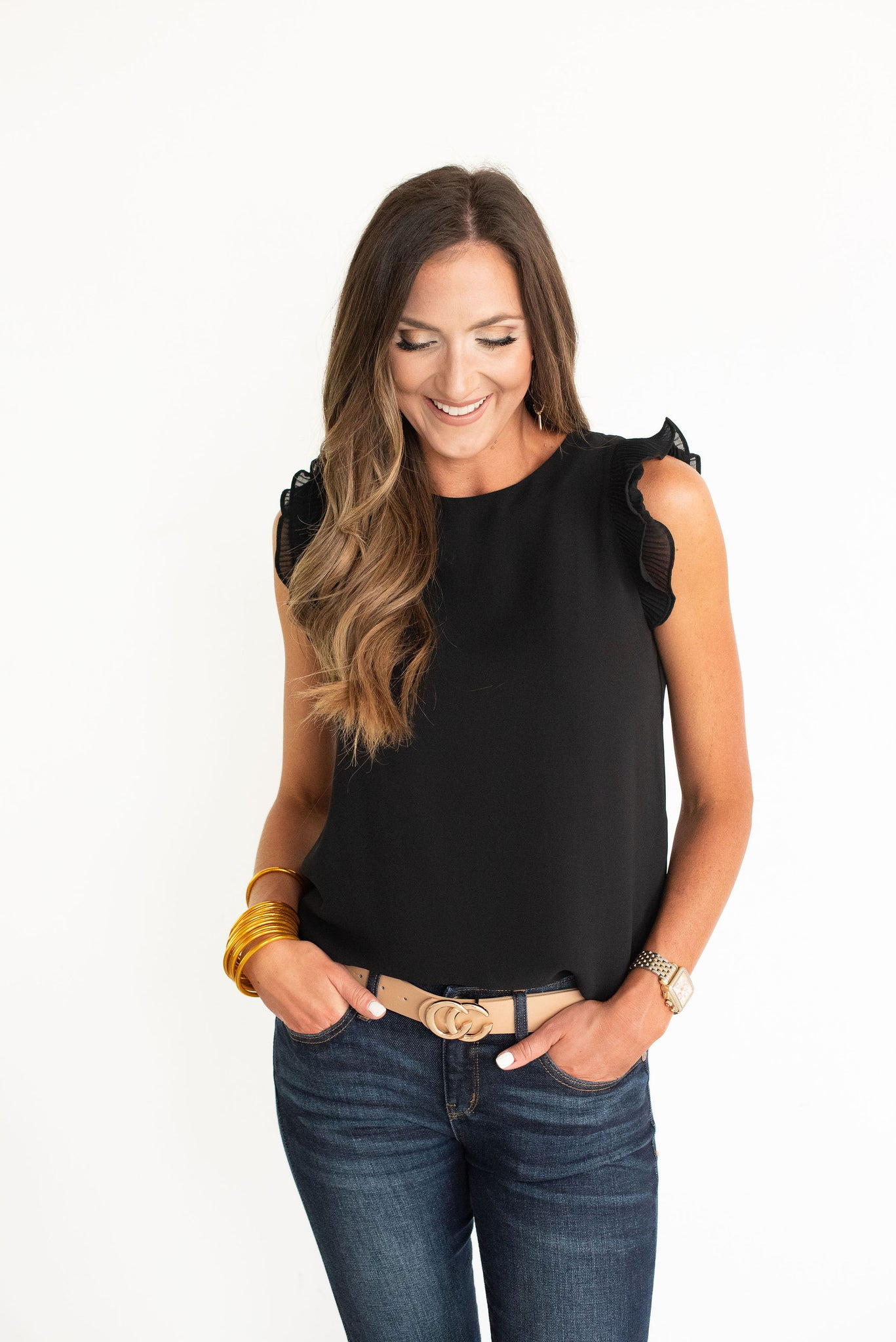 Black Pleated Ruffle Sleeve Solid Top