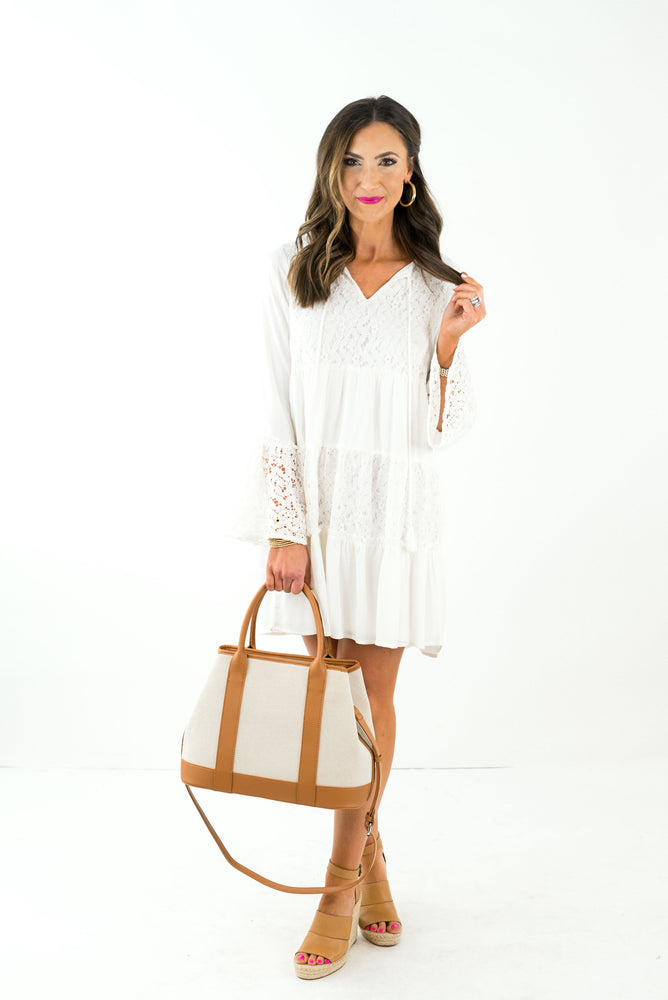 White Lace Inset Boho Dress
