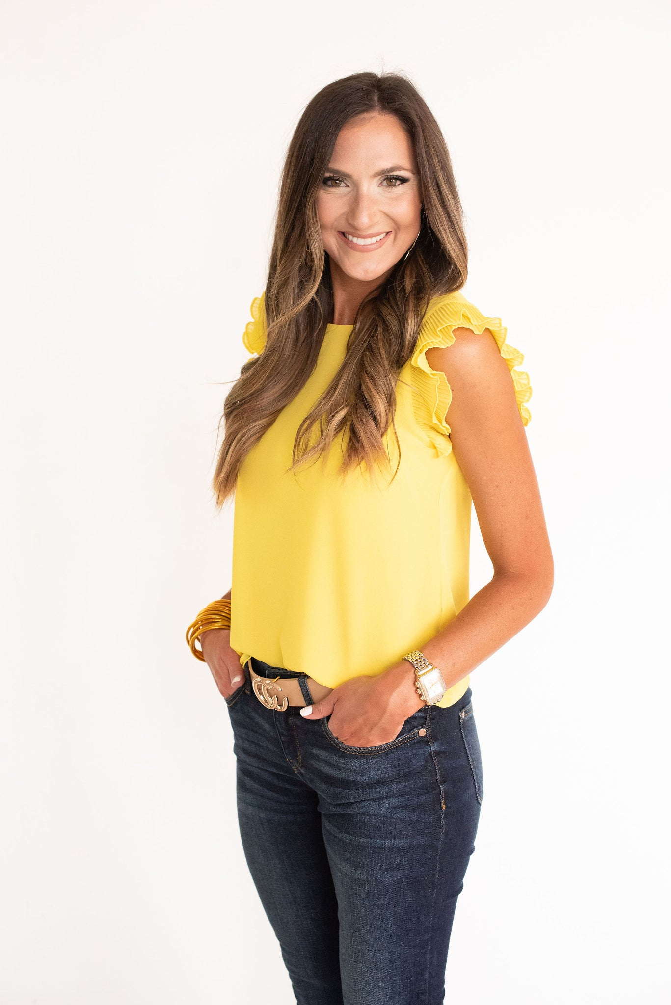 Yellow Pleated Ruffle Sleeve Solid Top