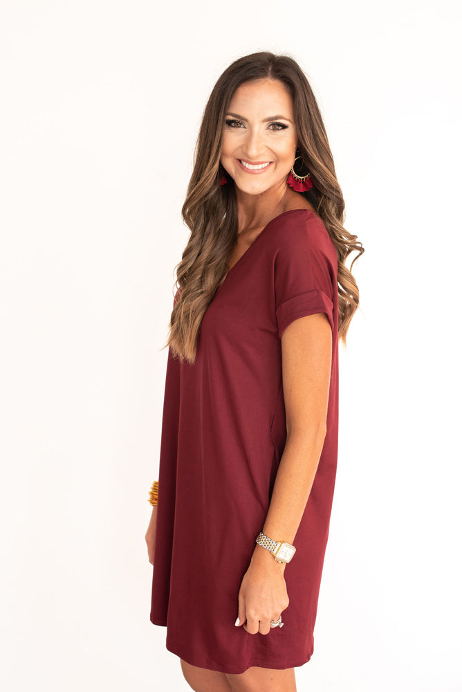Maroon V-Neck Knit Dress, Mississippi State, South Carolina, SC, Texas A&M, TAMU, USC, Minnesota, Arizona State, Florida State, FSU, Virginia Tech, maroon dress, game day dress, maroon game day dress, tailgate dress, tailgate outfit, style your senses