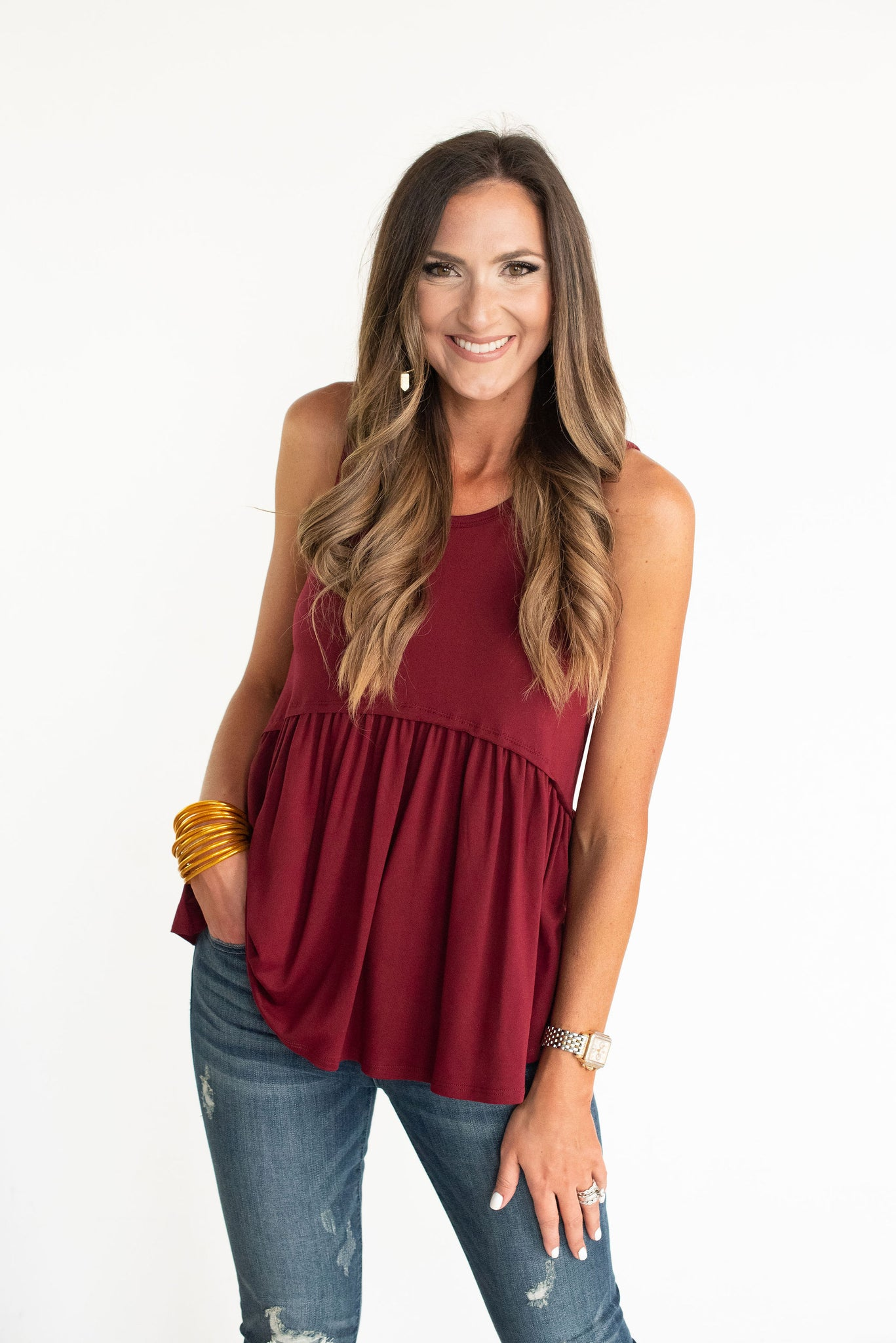 Maroon Ruffle Bottom Tank