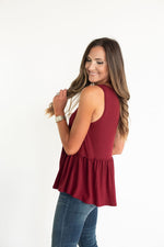 Maroon Ruffle Bottom Tank, Mississippi State, South Carolina, SC, Texas A&M, TAMU, USC, Minnesota, Arizona State, Florida State, FSU, Virginia Tech, maroon game day, game day tank, game day top, maroon top, maroon tank, maroon tee, Texas A&M tee, Texas A&M tank, SEC, Big Ten, Big 12, style your senses, tailgate outfit, game day outfit