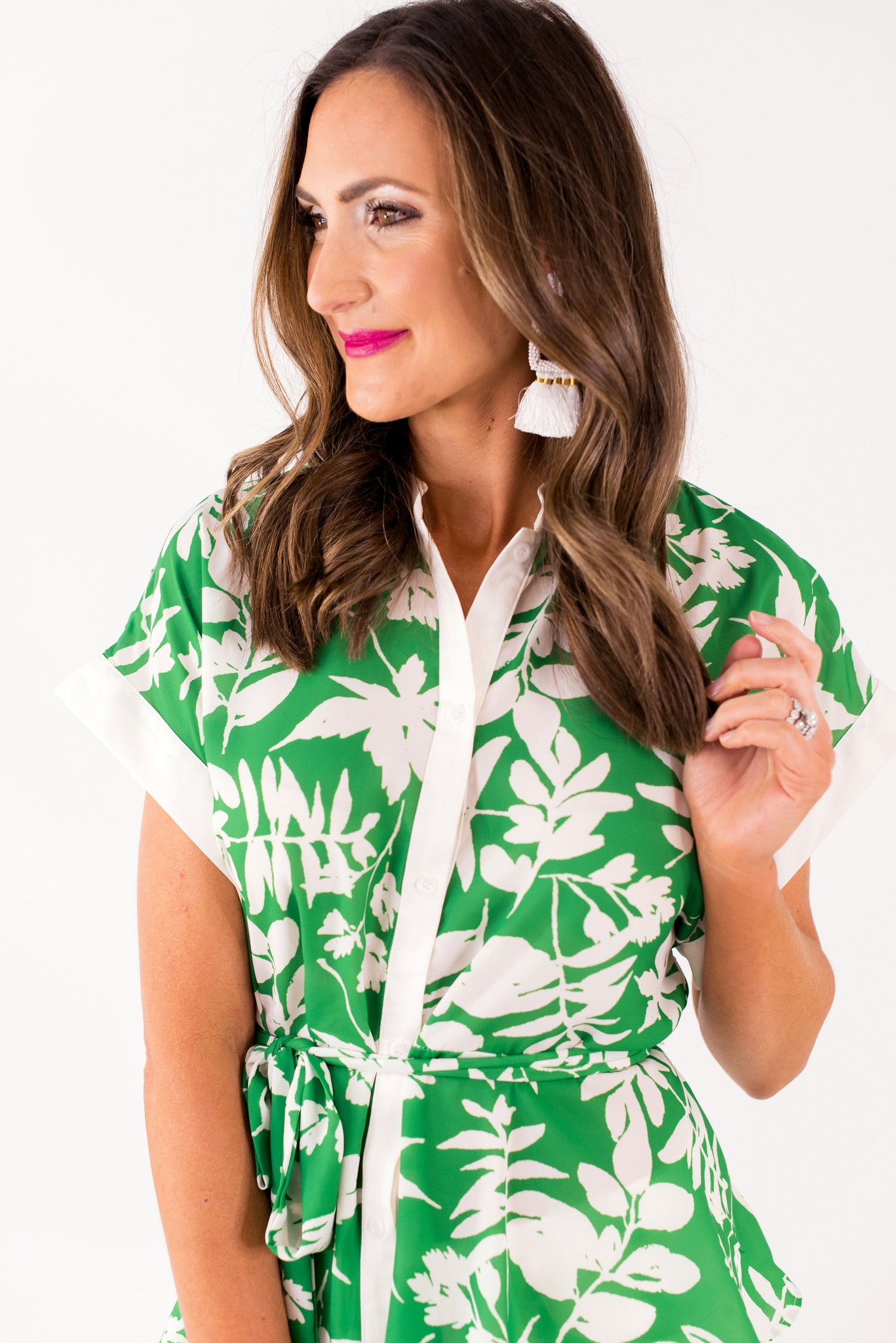 Green and White Retro Tie Waist Top