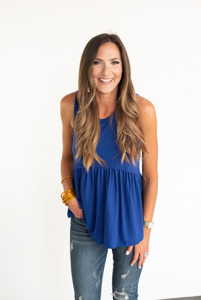 Blue Ruffle Bottom Tank