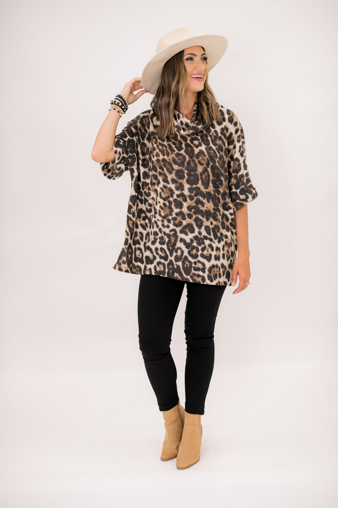 Brushed Animal Print Turtleneck Oversized Top