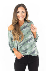 Camo French Terry Slouchy Top
