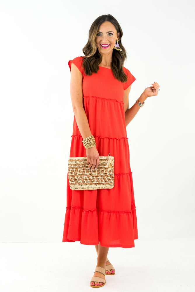 Orange Square Neck Midi Dress *FINAL SALE*