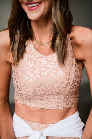 peach animal print sports bra, athleisure, shop style your senses by mallory fitzsimmons
