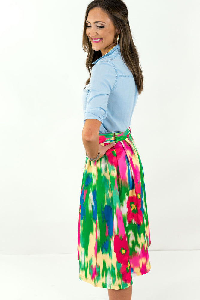 Colorful Belted Skirt