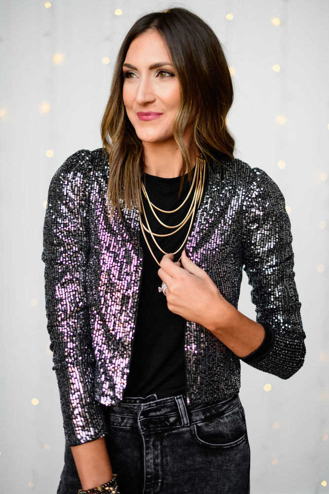 Gold-layered-herringbone-necklace-sequin-jacket-black-puff-shoulder-denim-flare-jeans-holiday-accessories-holiday-launch-holiday-party-outfits-holiday-chic-shop-style-your-senses-by-mallory-fitzsimmons