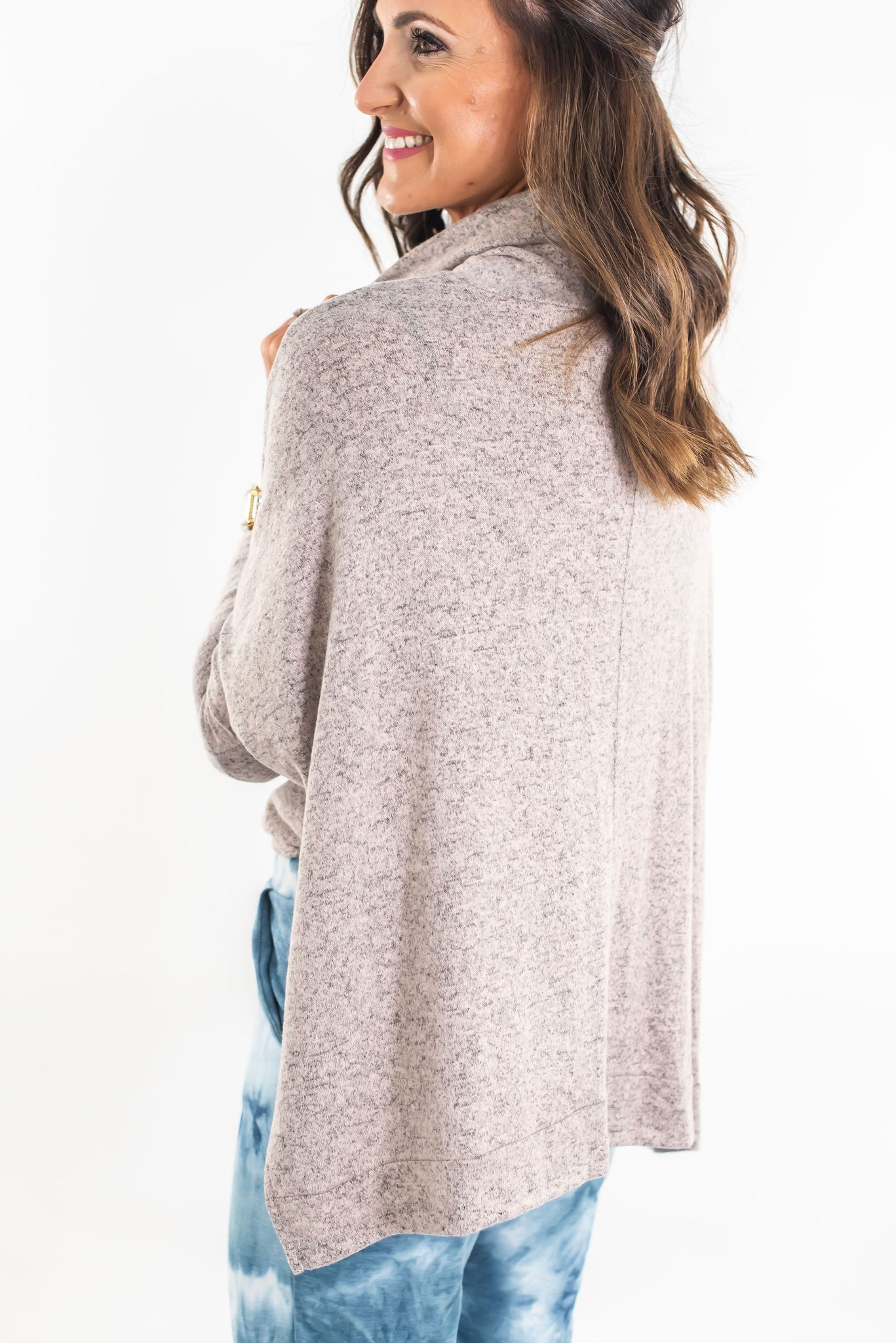 Taupe Brushed Turtle Neck Dolman Sleeve Top