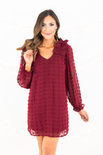 Burgundy Long Sleeve Ruffle Shoulder Dress