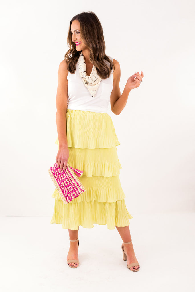 Lemon Pleated Tiered Midi Skirt