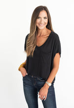 Black V-Neck Dolman Tee