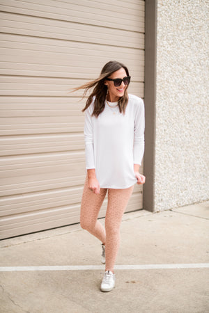 Load image into Gallery viewer, white split hem long sleeve athletic top, athleisure, work out style, shop style your senses by mallory fitzsimmons