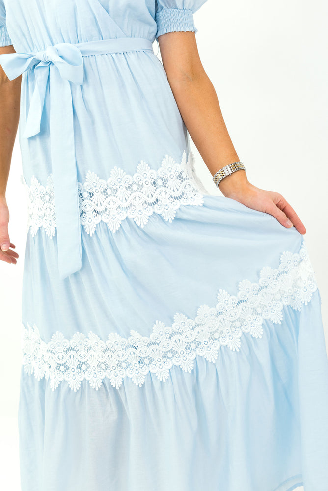 Load image into Gallery viewer, Light Blue Crossover Maxi Dress w/ Lace Panels *FINAL SALE*