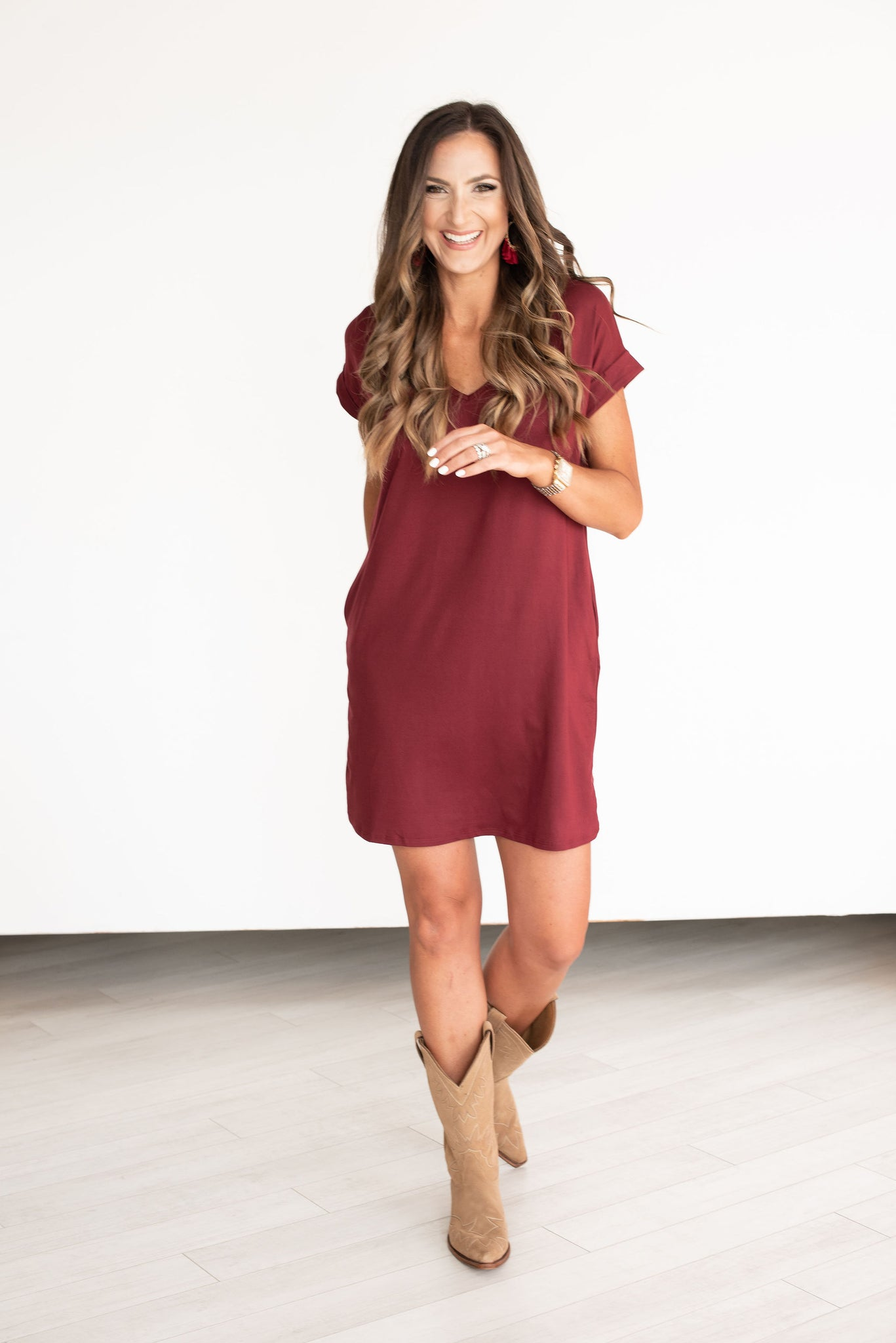 Maroon V-Neck Knit Dress