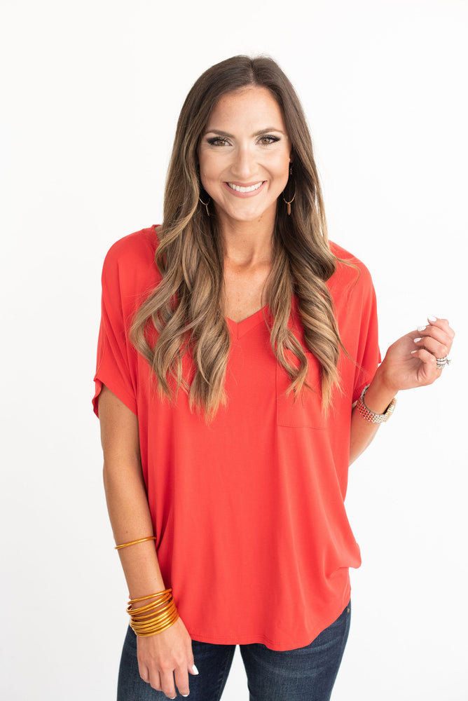 Red V-Neck Dolman Tee