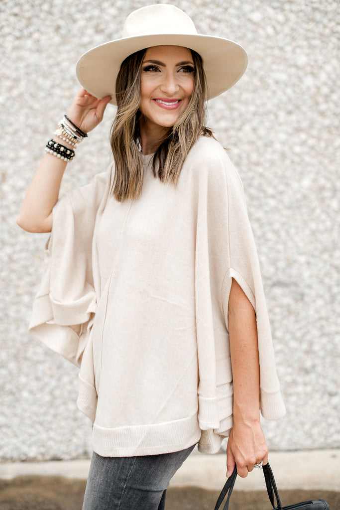 Oatmeal Brushed Poncho w/ Ribbed Hem