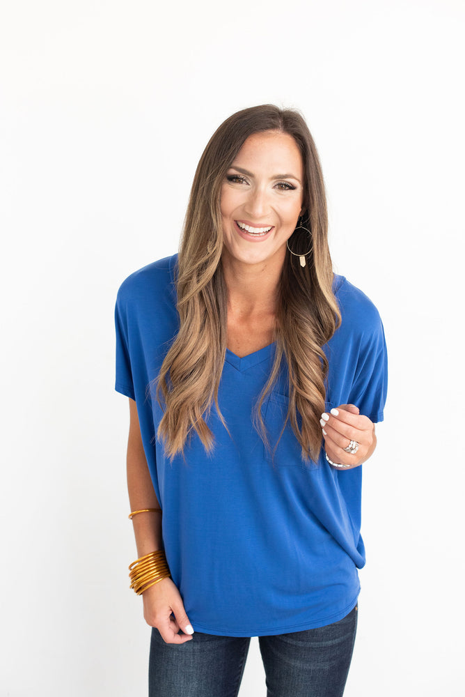 Blue V-Neck Dolman Tee
