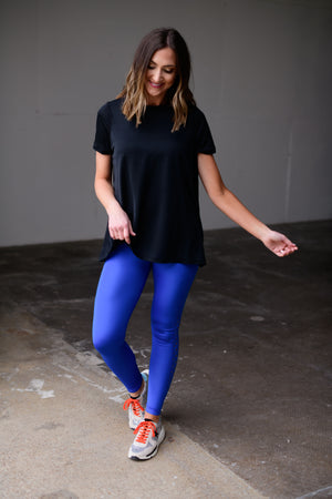 royal blue high waisted perforated leggings, workout wear, affordable athleisure, shop style your senses by mallory fitzsimmons