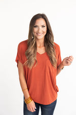 Orange V-Neck Dolman Tee