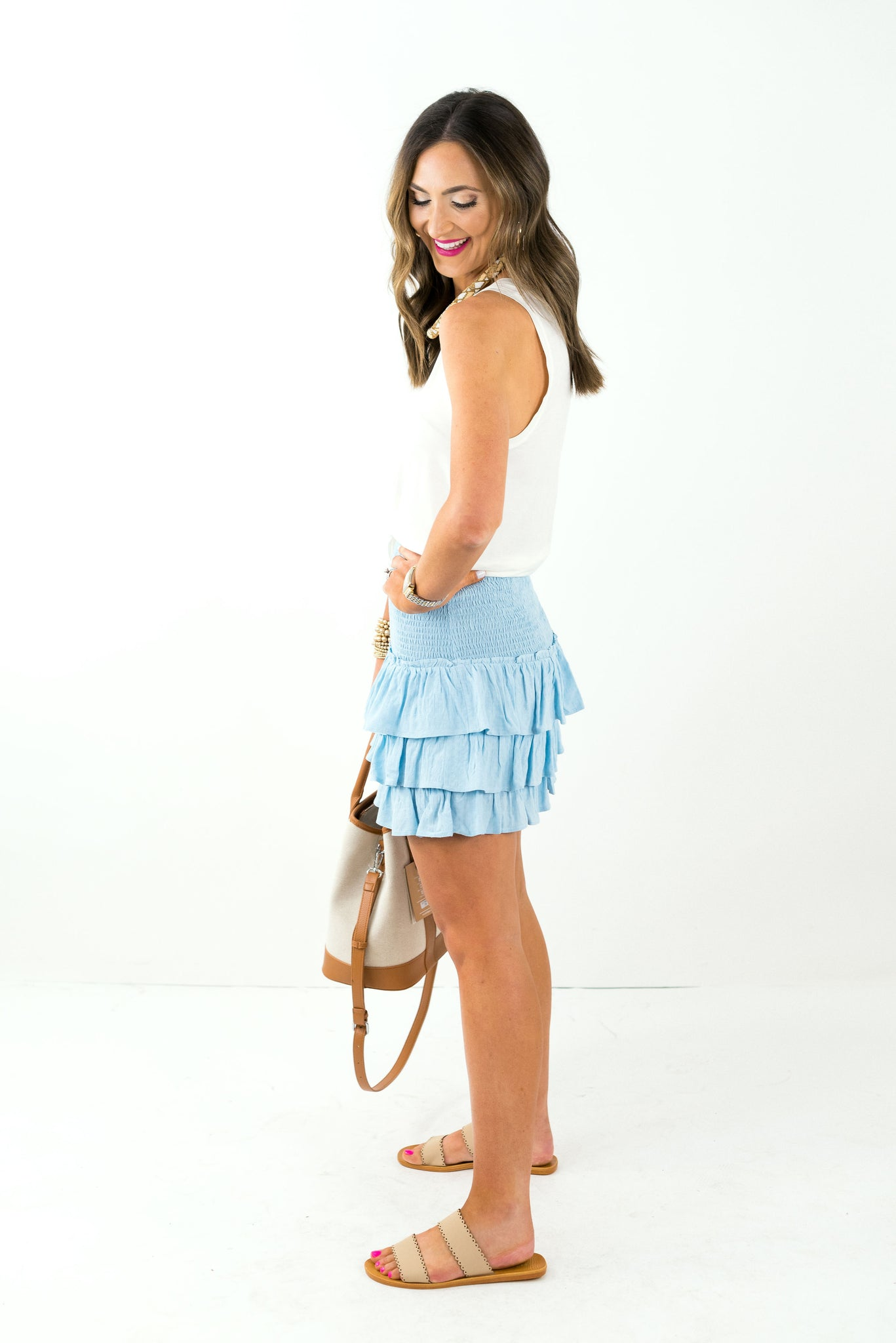 Baby Blue Smocked Ruffle Skirt *FINAL SALE*