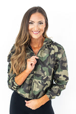 camo jacket, women's camo top, off the shoulder top, leggings, black leggings, athleisure, bomber jacket, windbreaker, mom style, track pants, cozy fleece, fall style, style your senses, graphic tee