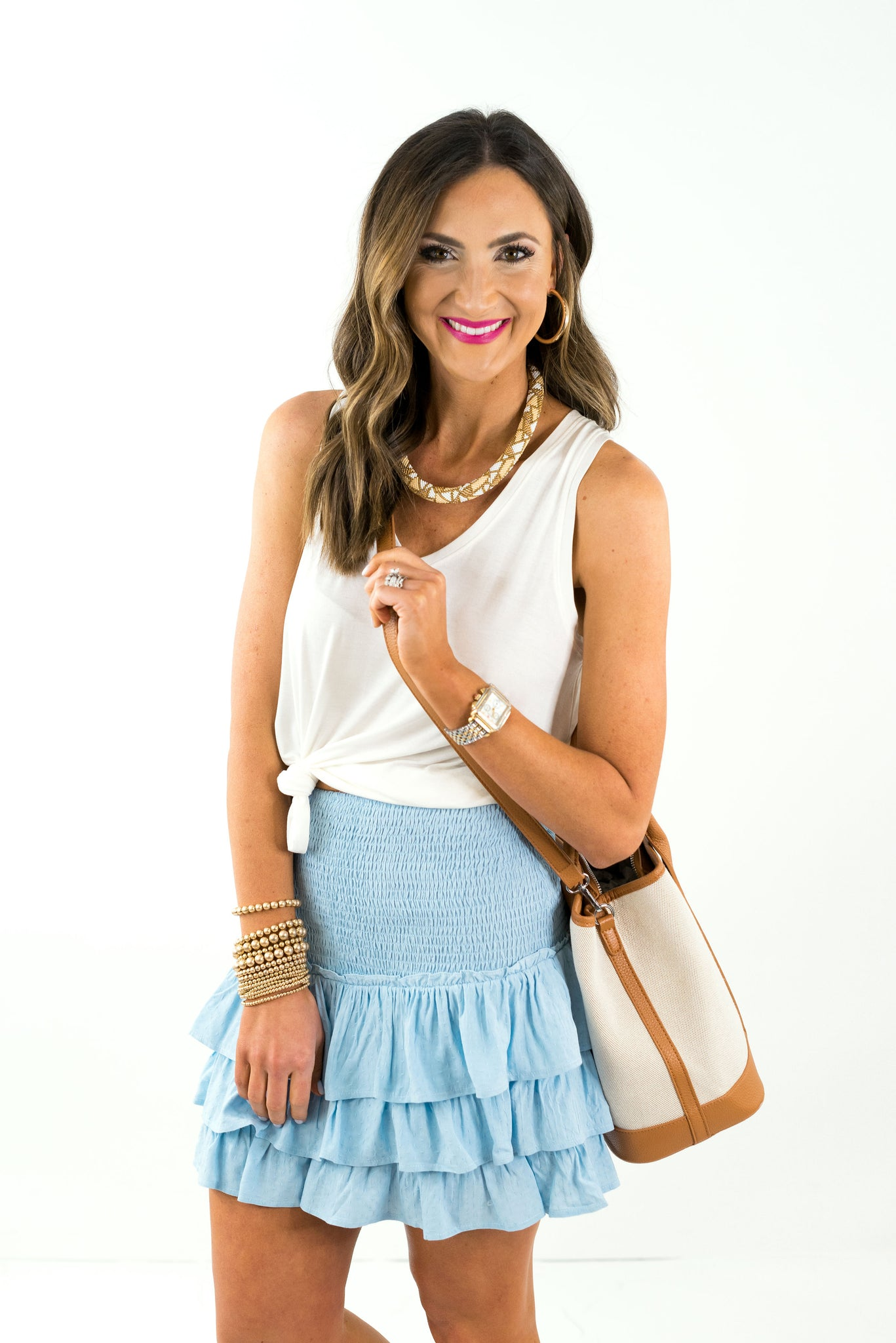 Baby Blue Smocked Ruffle Skirt