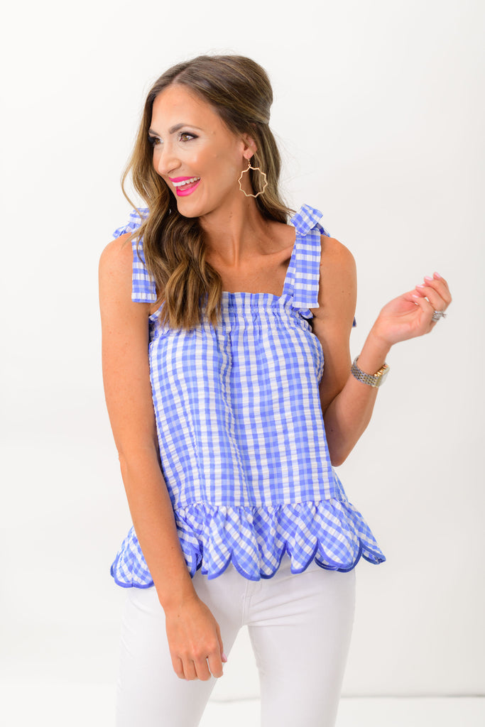 Blue Gingham Tie Strap Top w/ Scalloped Hem