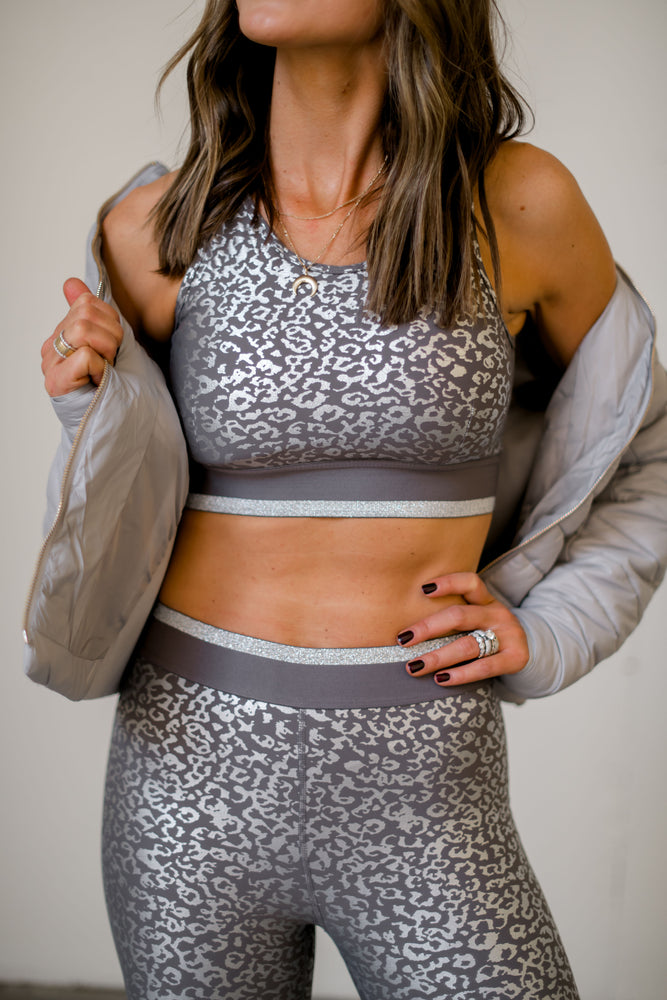 leopard sports bra, full coverage sports bra, silver foil, affordable athleisure, shop style your senses