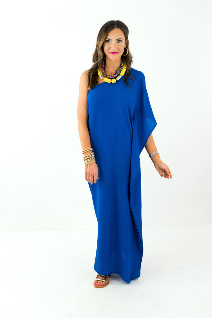 Royal Blue One Shoulder Maxi Dress