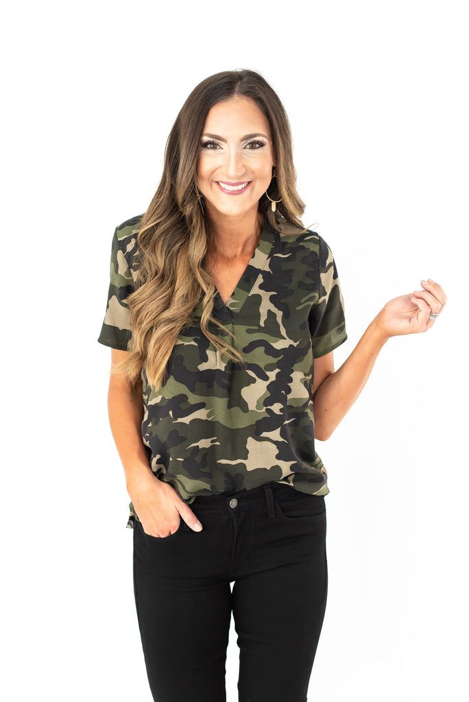 Camo Short Sleeve V Neck Top
