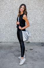 Black Monochromatic Foil Scale Print Leggings