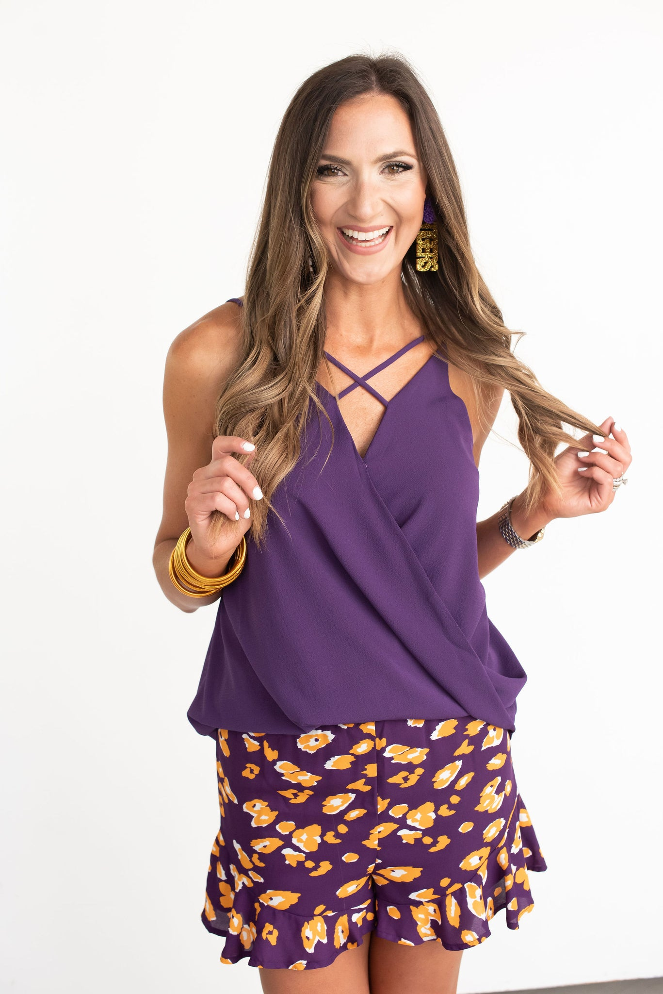 Purple Woven Cami with Front Cross Detail