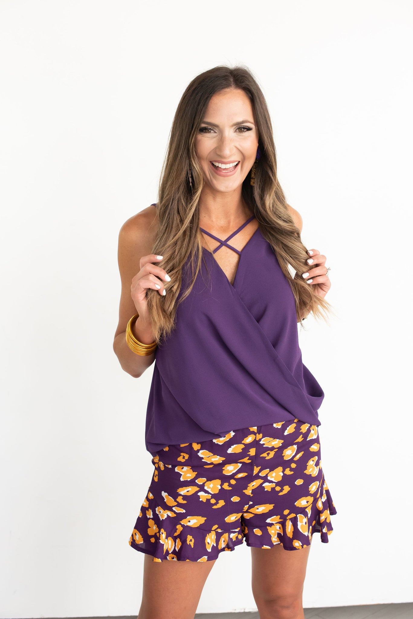 Purple and Gold Animal Print Shorts