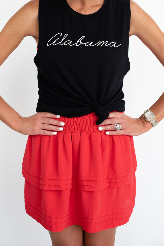 Red Solid Ruffle Skirt