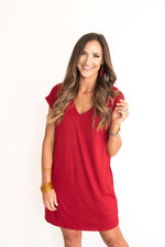 Red V-Neck Knit Dress
