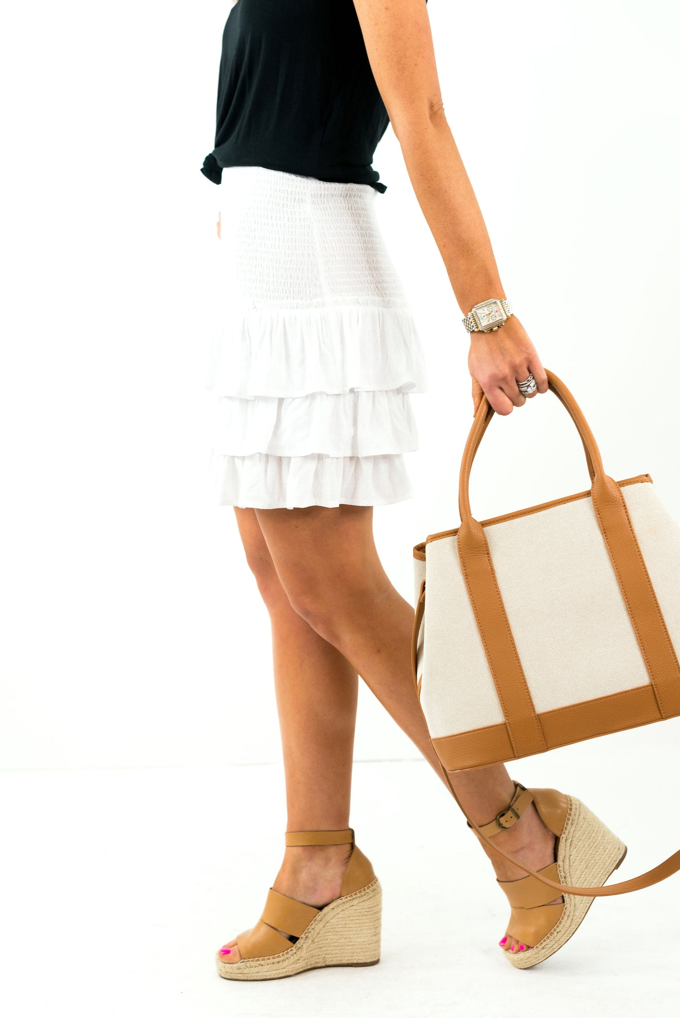 White Smocked Ruffle Skirt *FINAL SALE*