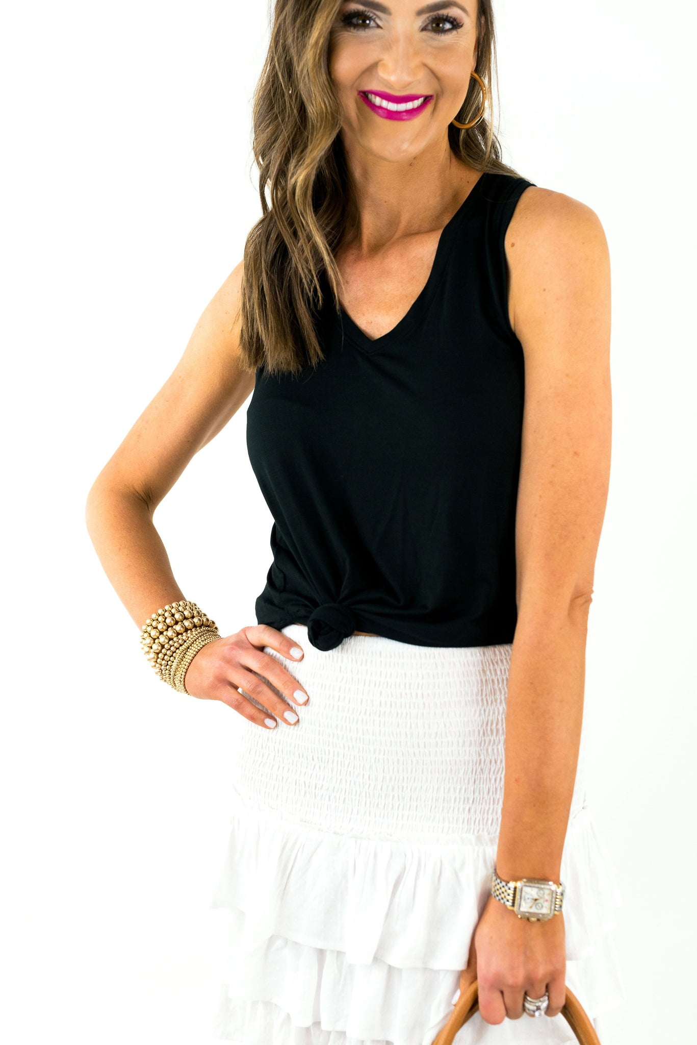 Black V Neck Basic Tank