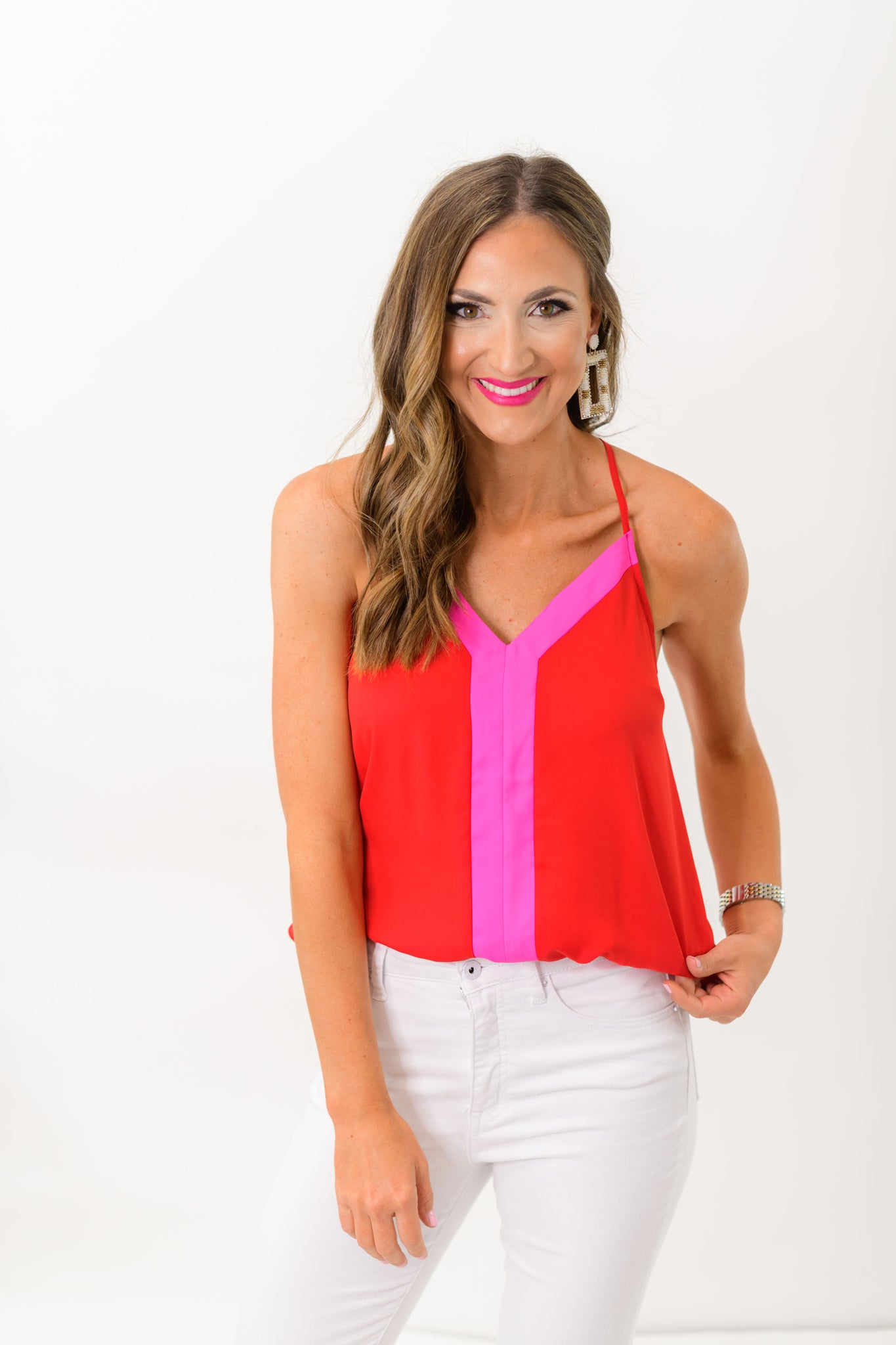 Red and Pink Color Block Cami